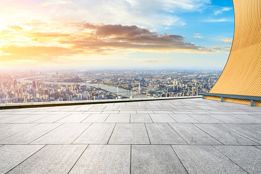 693903950 istock photo Panoramic skyline and buildings with empty city square floor 1048562458