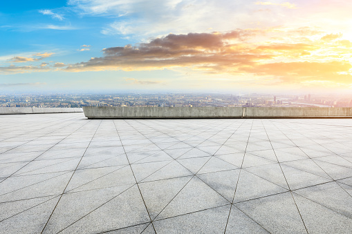 693903950 istock photo Panoramic skyline and buildings with empty city square floor 1048562566