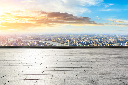 693903950 istock photo Panoramic skyline and buildings with empty city square floor 1048564820