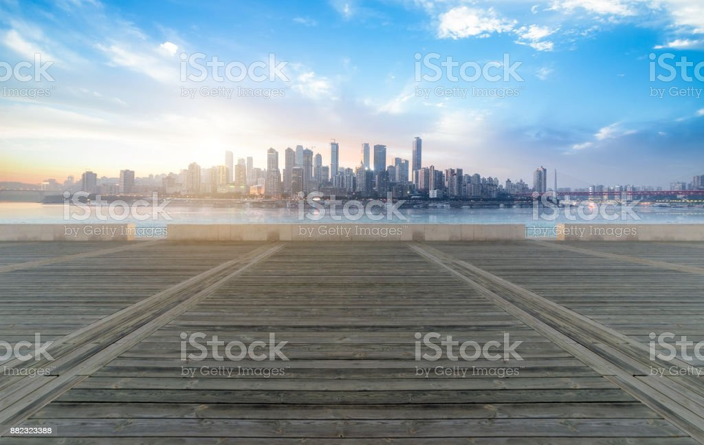Panoramic skyline and buildings with empty concrete square floor in chongqing,china stock photo