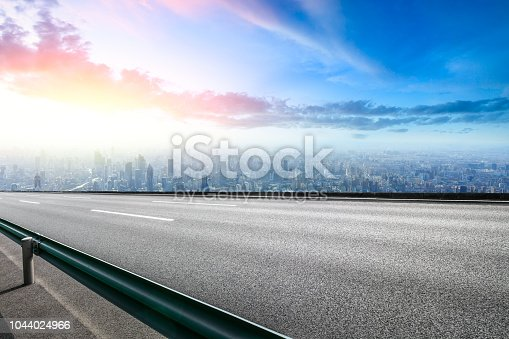 Panoramic Shanghai skyline and buildings with empty road