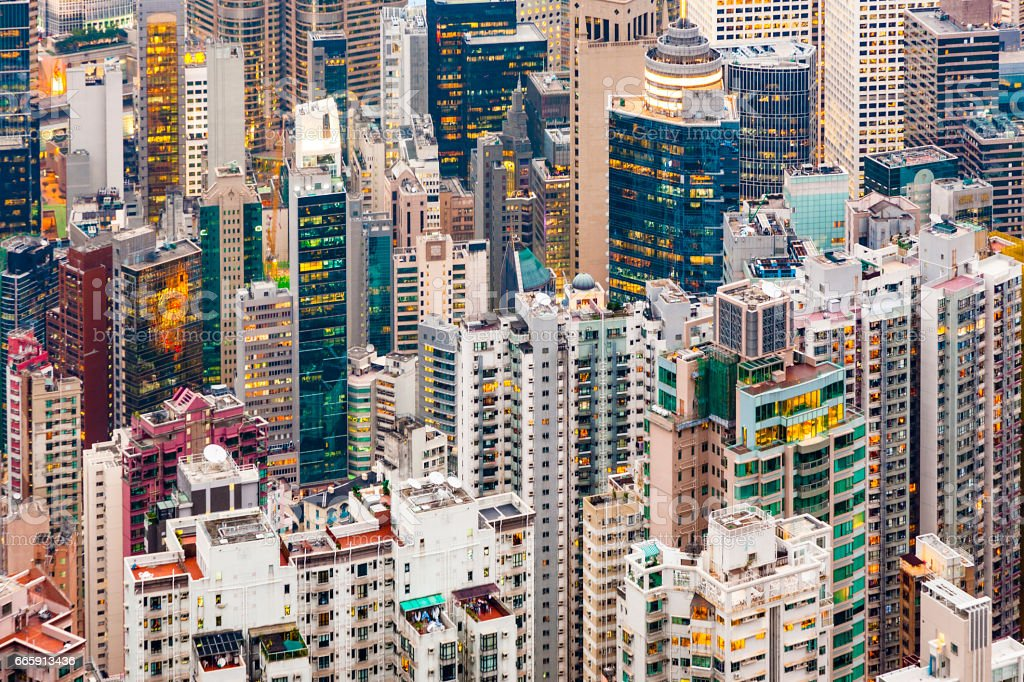 Panoramic Skyline of Hong Kong City stock photo