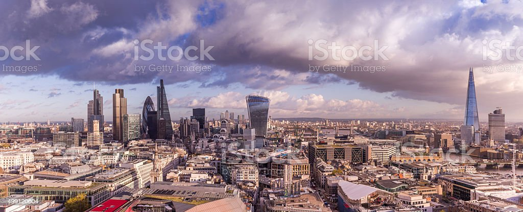 Panoramic skyline of London with bank district and Shard tower stock photo