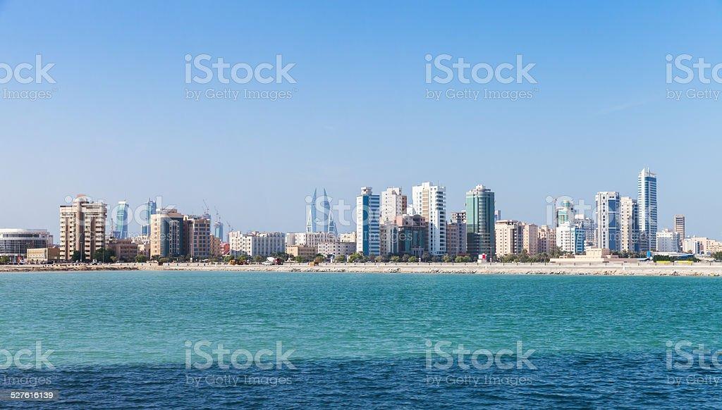 Panoramic Skyline of Manama city, Bahrain stock photo