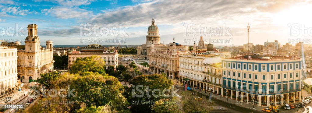Panoramic Skyline of Old Havana Cuba stock photo