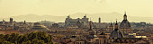 Panoramic skyline of Rome with ancient architecture at sunset with Pantheon, Altar of the Fatherland and several church domes