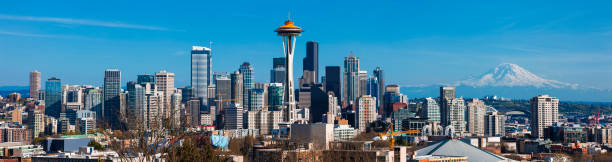 panoramic skyline of seattle in washington state, united states - seattle стоковые фото и изображения