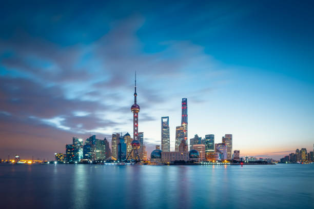 Panoramic skyline of Shanghai China - East Asia, Shanghai, City, Urban Skyline, Cityscape shanghai stock pictures, royalty-free photos & images