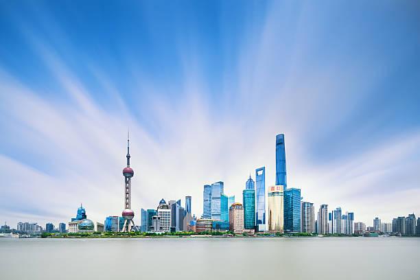 Panoramic skyline of Shanghai Shanghai, Urban Skyline, China - East Asia, The Bund, City shanghai stock pictures, royalty-free photos & images