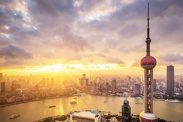 Panoramic skyline of Shanghai High Angle View, City, Scenics, Downtown District, The Bund huangpu river stock pictures, royalty-free photos & images