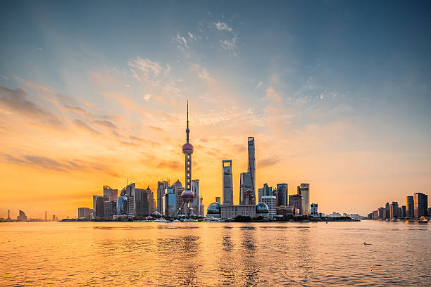 Panoramic skyline of Shanghai Panoramic skyline of Shanghai,China,Sunrise,Lu Jia Zui,Shanghai shanghai stock pictures, royalty-free photos & images