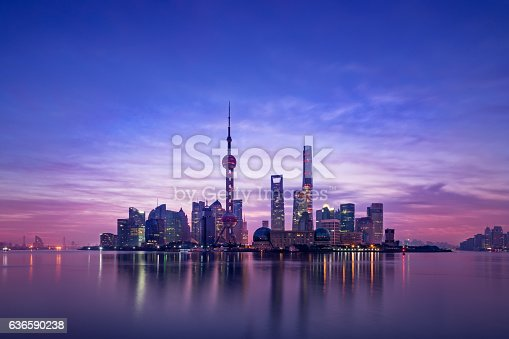 Panoramic skyline of Shanghai,China,Sunrise,Lu Jia Zui,Shanghai
