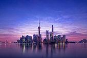 Panoramic skyline of Shanghai,China,Sunrise,Lu Jia Zui,Shanghai