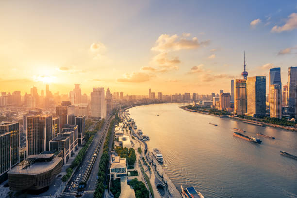 Panoramic skyline of Shanghai Shanghai, China - East Asia, Urban Skyline, Cityscape, City huangpu river stock pictures, royalty-free photos & images