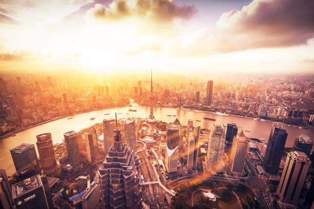 Panoramic skyline of Shanghai stock photo