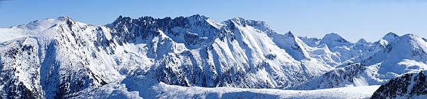 Panoramic snow mountain peak stock photo