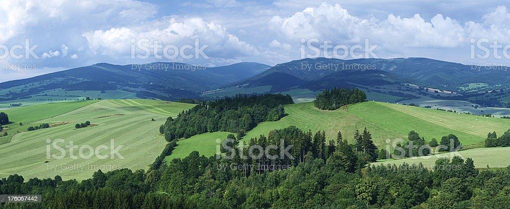 Panoramic spring landscape 73MPix XXXXL size - highlands, blue sky stock photo