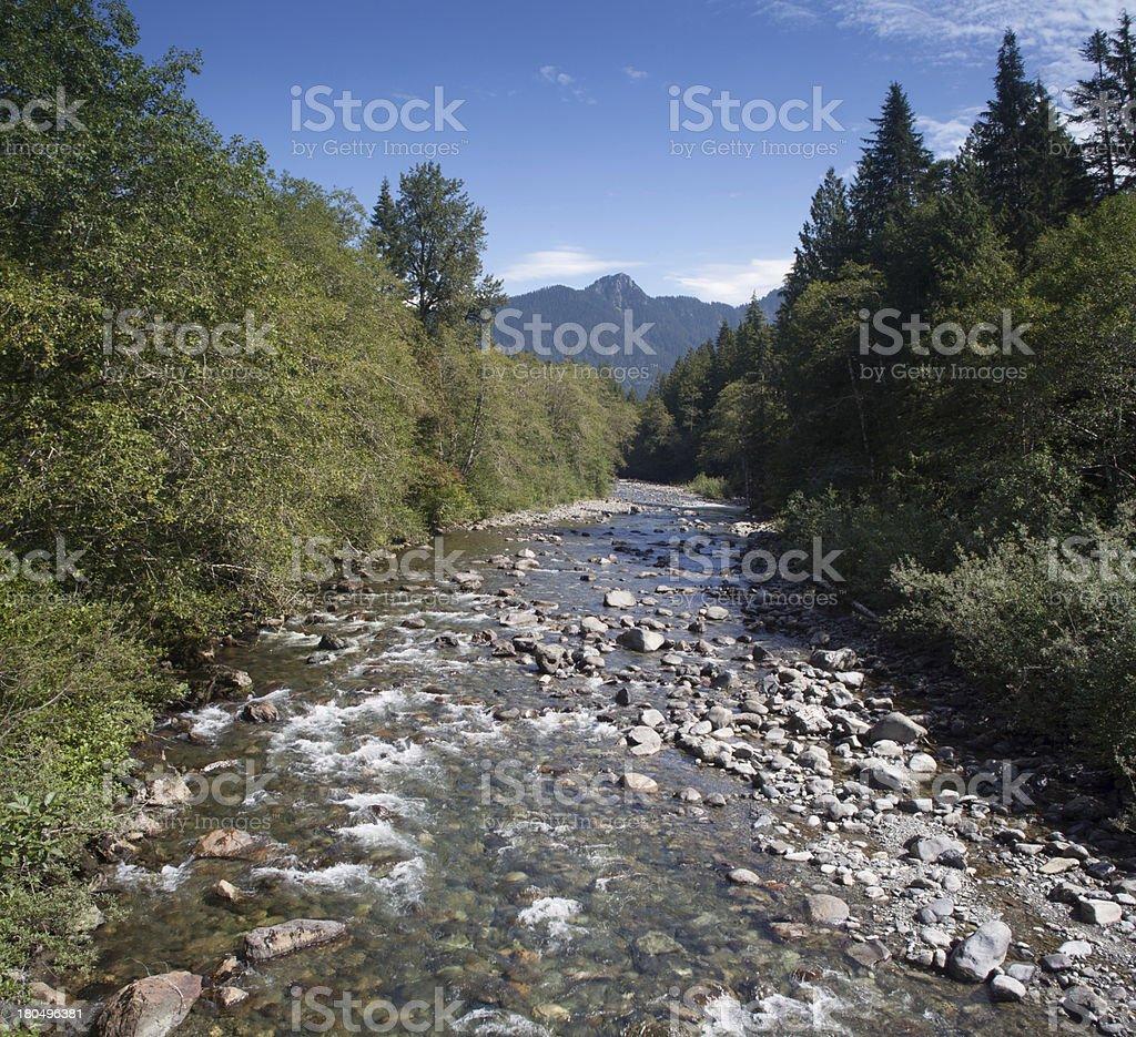 Panoramic Stillaguamish RIver stock photo