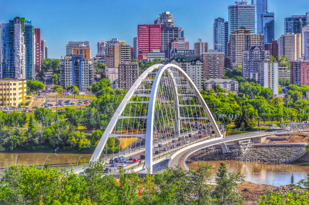 Panoramic Summer City A panoramic view of downtown Edmonton in the summer alberta stock pictures, royalty-free photos & images