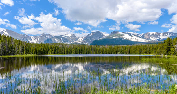 a panoramic summer view of bierstadt lake and its surrounding rocky mountain peaks, rocky mountain national park, colorado, usa. - estes park foto e immagini stock