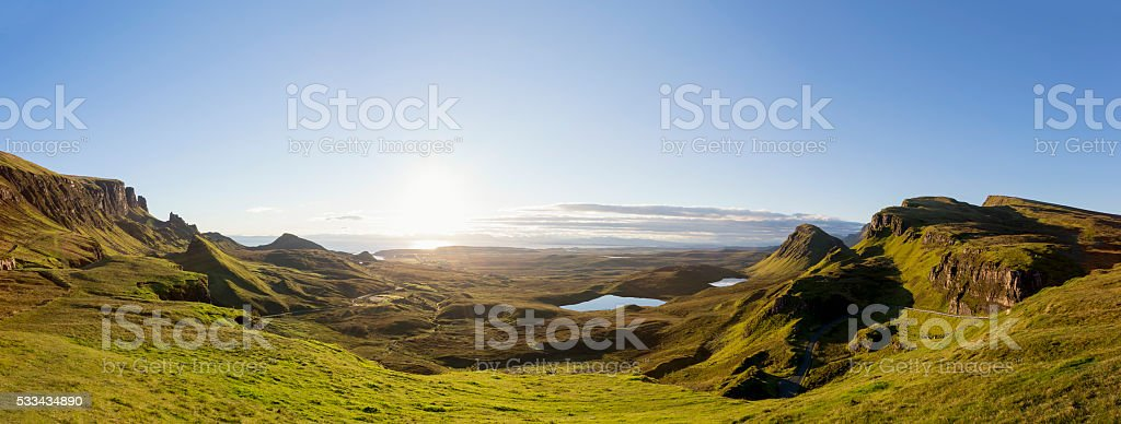 Panoramic Sunrise at the Quiraing on Isle of Skye Scotland stock photo