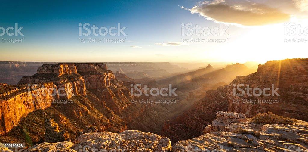 Panoramic Sunset at Cape Royal, Grand Canyon National Park stock photo