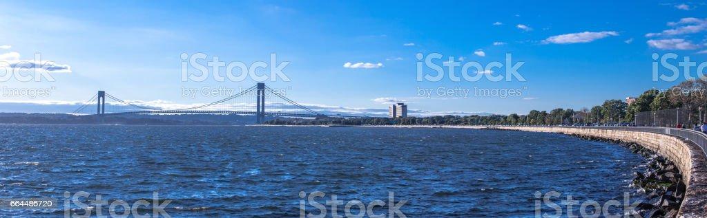 Panoramic sunset at the New York bridge stock photo