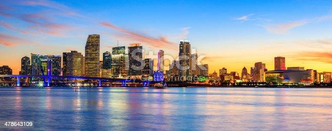 istock Panoramic sunset, Miami 478643109
