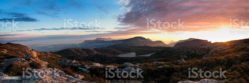 Panoramic sunset over Cape Point, South Africa royalty-free stock photo