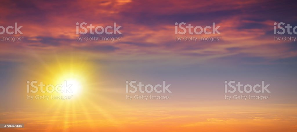 Panoramic sunset stock photo