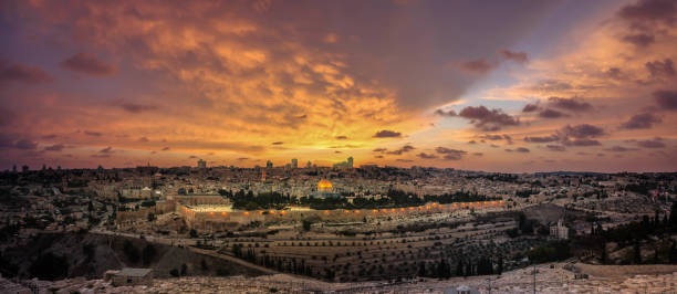 Panoramic sunset view of Jerusalem Old City and Temple Mount from the Mount of Olives Panoramic sunset view of Jerusalem Old City, City of David and Temple Mount from the Mount of Olives jerusalem old city stock pictures, royalty-free photos & images