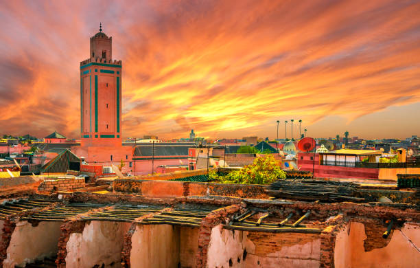 Panoramic sunset view of Marrakech and old medina, Morocco Panoramic sunset view of Marrakech and old medina, Morocco minaret stock pictures, royalty-free photos & images
