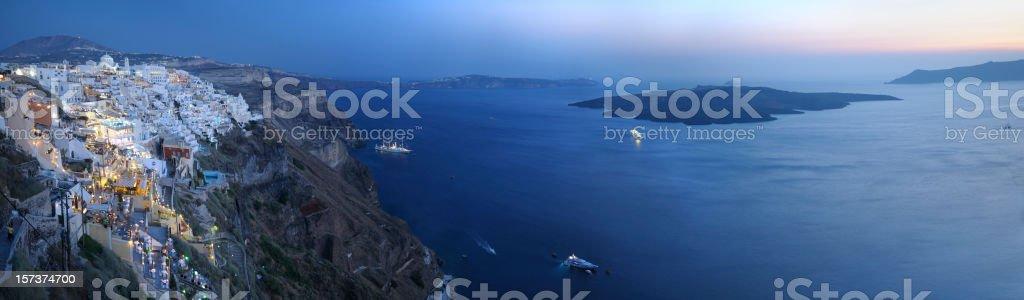 Panoramic sunset view of Santorini and Aegean sea, Greece stock photo