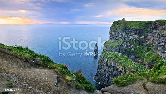 Panoramic sunset view at the Cliffs of Moher with Branaunmore sea stack, Ireland