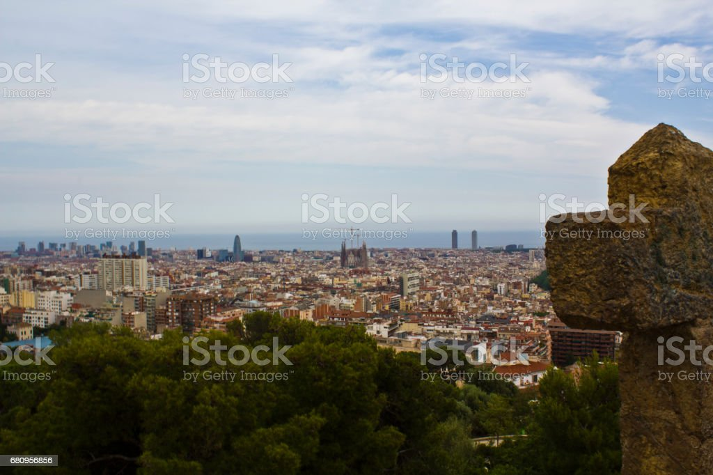 Panoramic top view of Barcelona royalty-free stock photo