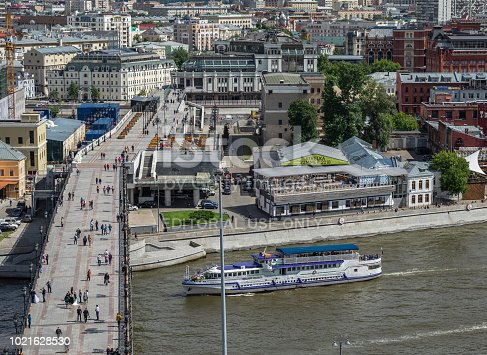 MOSCOW, RUSSIA - June 9, 2018: Panoramic top view of the Moscow river