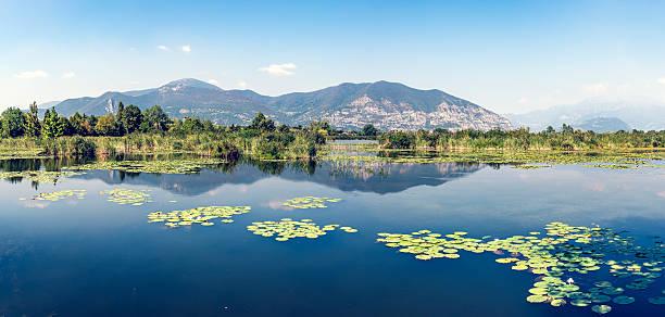 Panoramic Torbiere del Sebino peat bog, near Brescia, Italy foto
