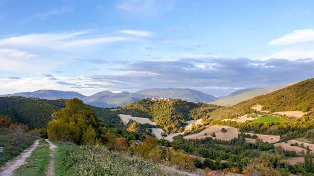 Panoramic Umbria landscape near Preci stock photo