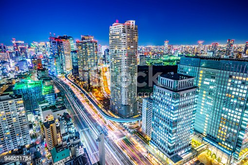 1015890826 istock photo panoramic urban city skyline aerial view under twilight sky and neon night with highway junction and shiodome acty in hamamatsucho, tokyo, Japan 946521784