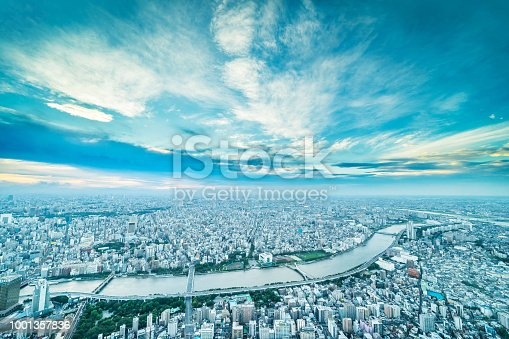 istock panoramic urban city skyline aerial view under twilight sky and golden sun in tokyo, Japan 1001357836