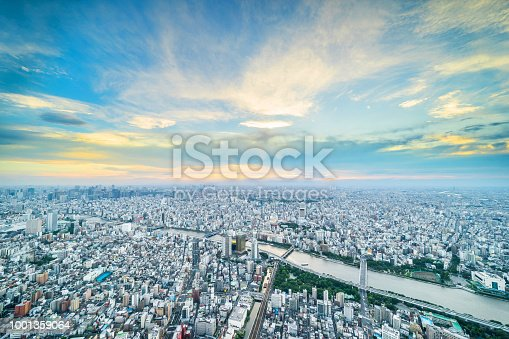 istock panoramic urban city skyline aerial view under twilight sky and golden sun in tokyo, Japan 1001359064