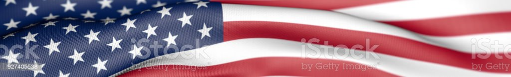 Panoramic US American Flag, United States of America Flag 3D Illustration stock photo