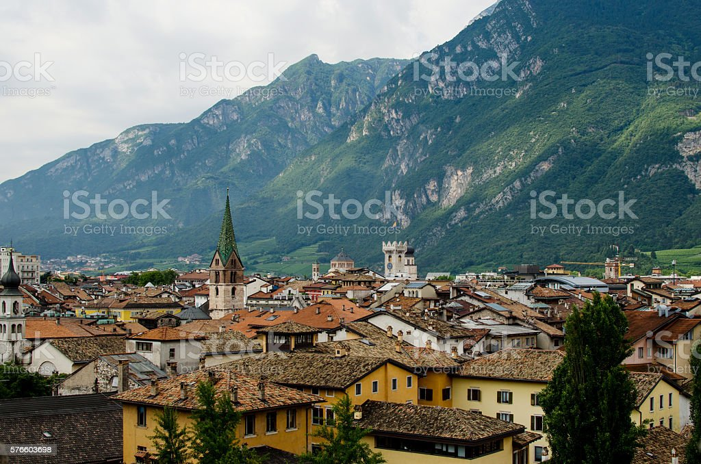 Panoramic veiw on Trento with green montains as a background stock photo
