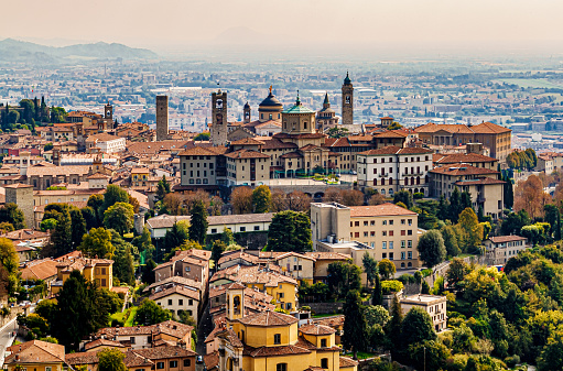 Panoramic veiw on Upper old city (Citta Alta) in Bergamo with historic buildings.