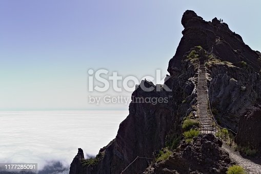Panoramic view above clouds on 'Pico do Arieiro' (Sandbox Peak) - Stairs to heaven (Madeira, Portugal)