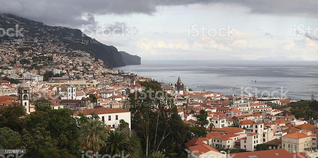 Panoramic view across Funchal, Madeira. stock photo