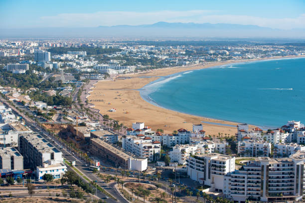 panoramautsikt agadir ariel från agadir kasbah - rabat marocko bildbanksfoton och bilder