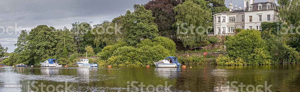 Panoramic View Along The River Dee In Chester royalty-free stock photo