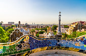 Panoramic view at Barcelona city and mountains in Spain, view from Park Guell