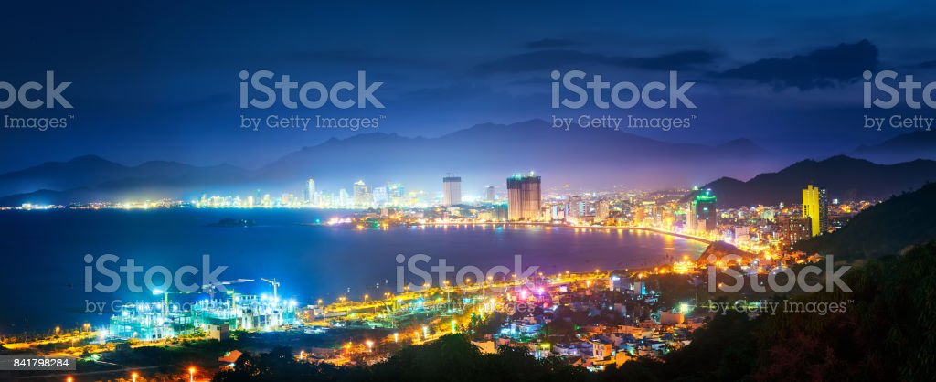 Panoramic view at coast city NhaTrang in night time, Vietnam stock photo